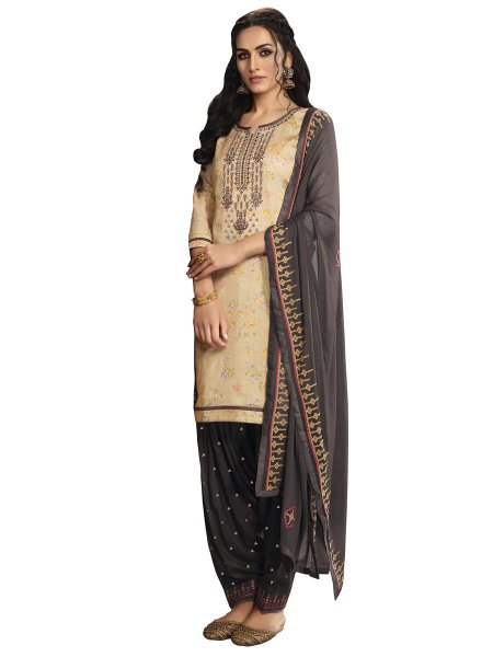 Cream Yellow Satin Cotton Embroidered Party Patiala Pant Kameez