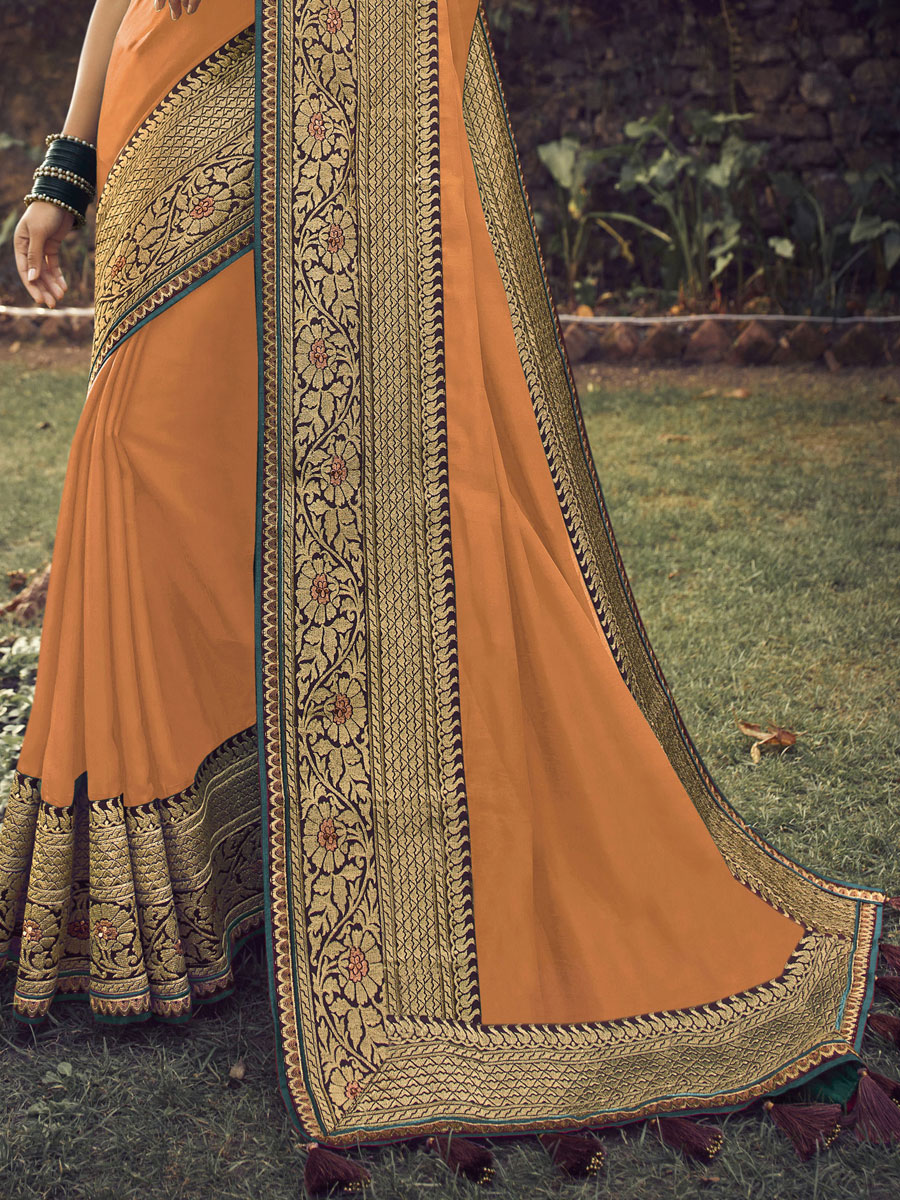 Carrot Orange Viscose Silk Embroidered Party Saree