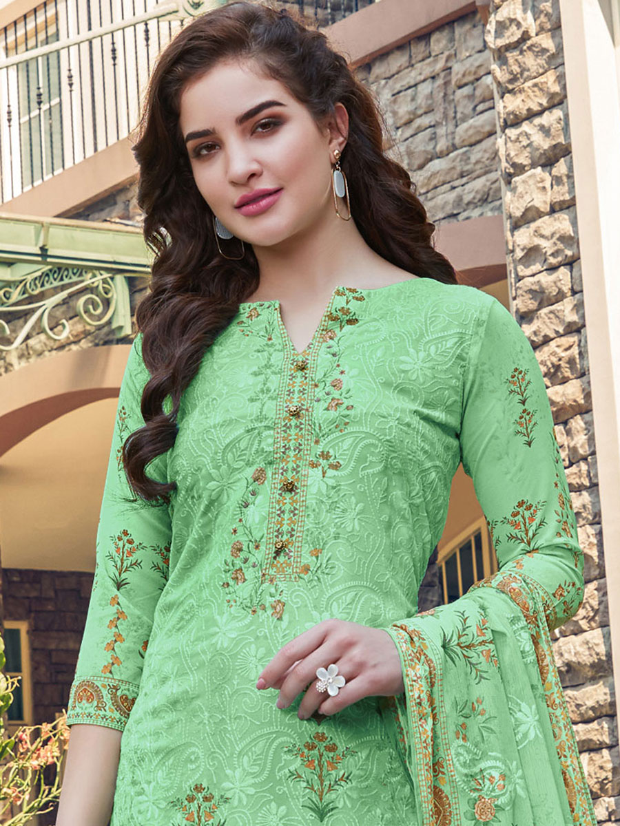 Light Green Faux Georgette Embroidered Festival Palazzo Pant Kameez