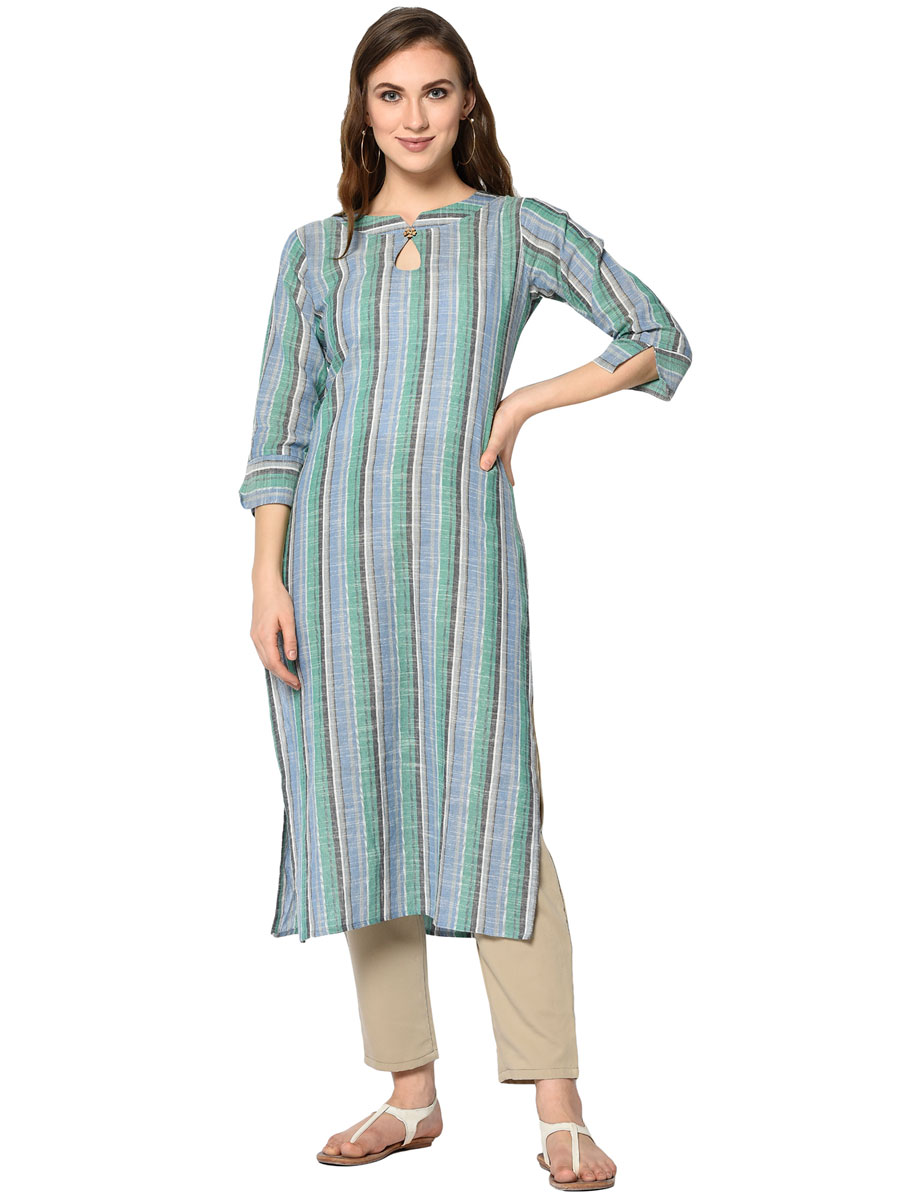 Sky Blue and Gray Cotton Printed Casual Kurti