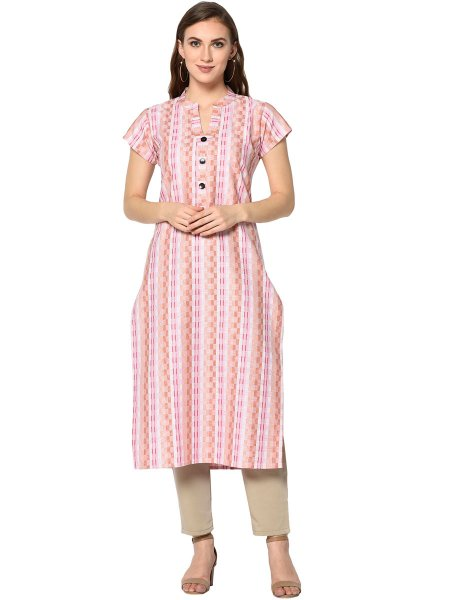 Light Coral Pink Cotton Printed Casual Kurti