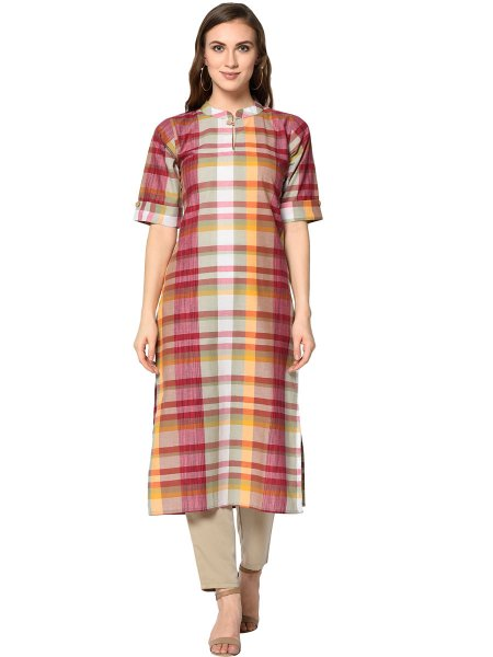 Maroon and Beige Yellow Cotton Printed Casual Kurti