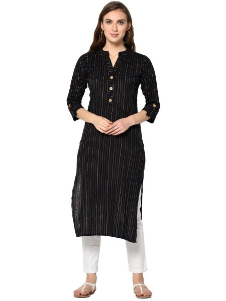 Black Cotton Printed Casual Kurti