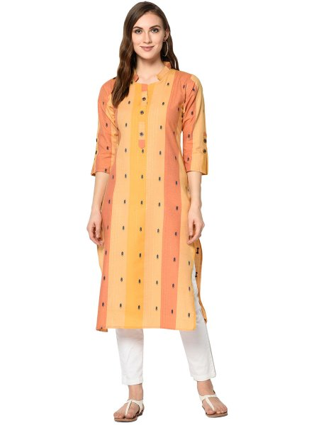 Salmon Orange and Saffron Yellow Cotton Printed Casual Kurti