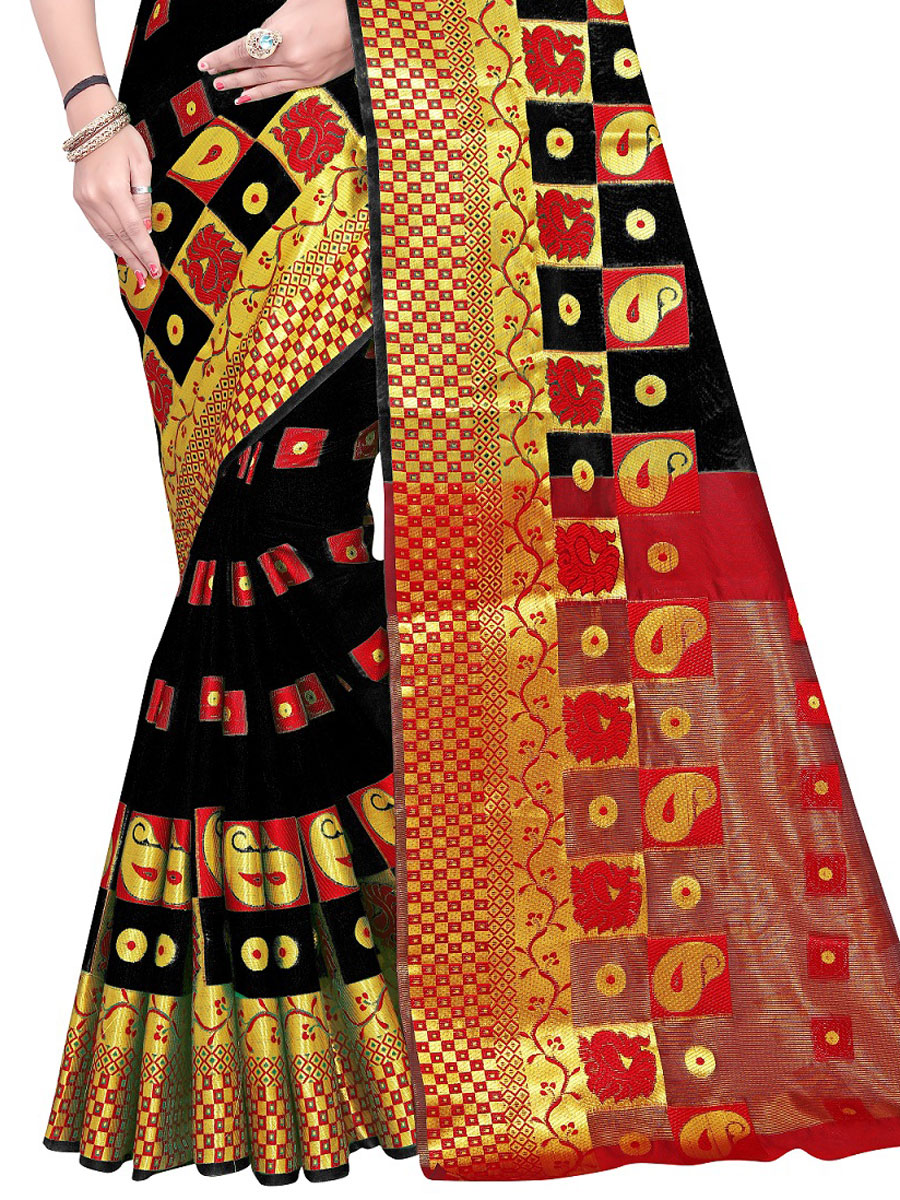 Black Cotton Jacquard Handwoven Festival Saree