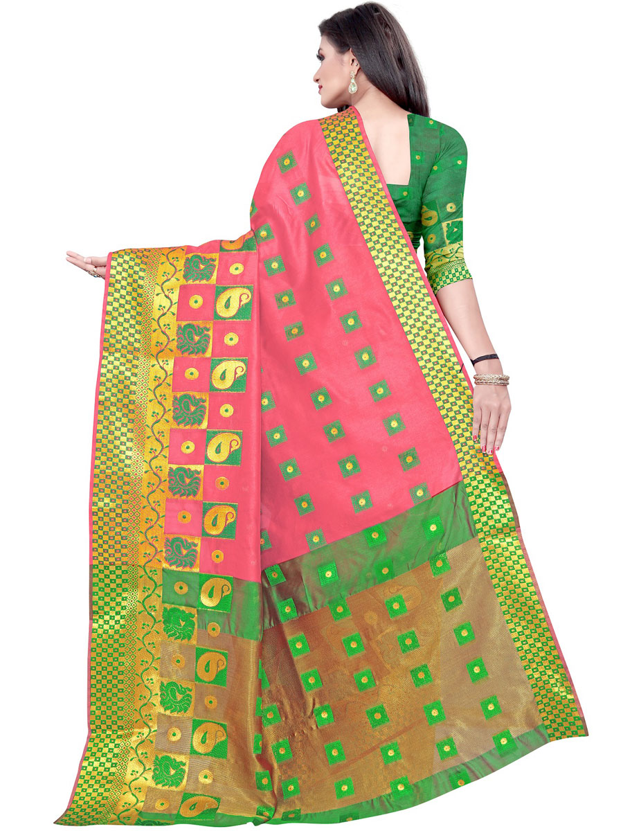 Brink Pink Cotton Jacquard Handwoven Festival Saree