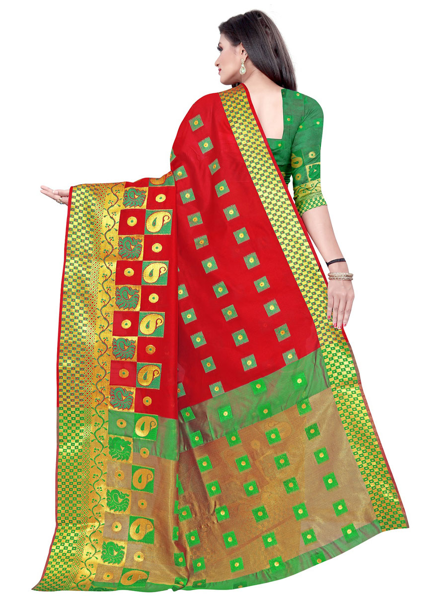 Rose Madder Red Cotton Jacquard Handwoven Festival Saree