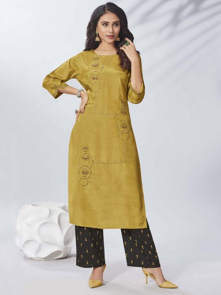 Mustard Yellow Viscose Embroidered Party Kurti