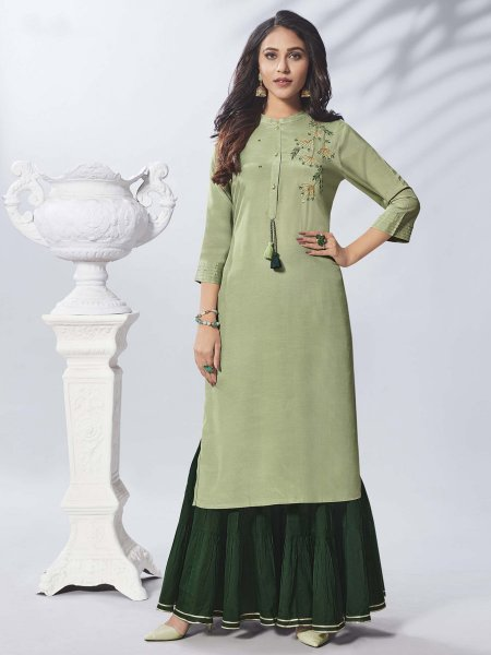 Light Olive Green Viscose Embroidered Party Kurti