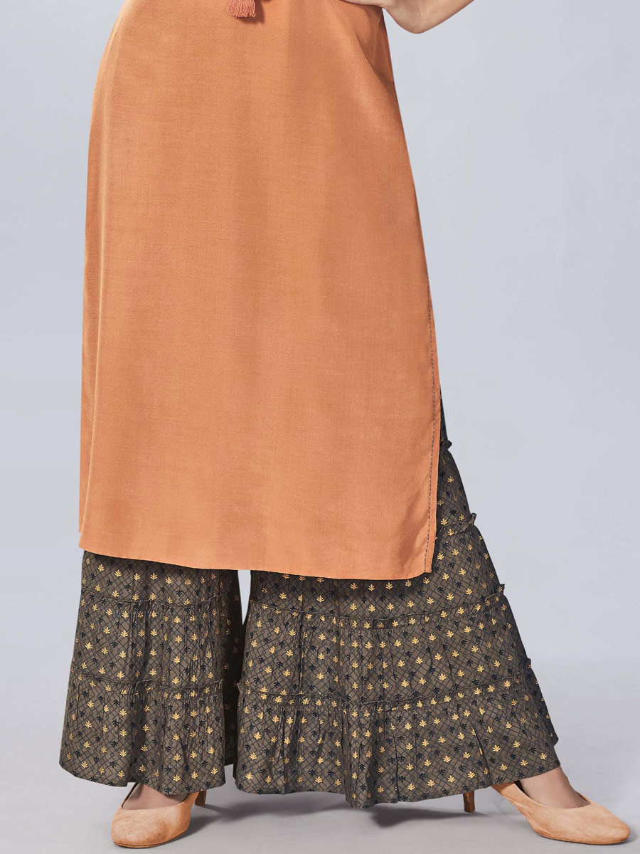 Coral Orange Viscose Embroidered Party Kurti