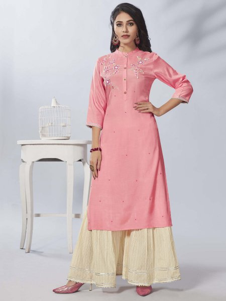 Salmon Pink Viscose Embroidered Party Kurti