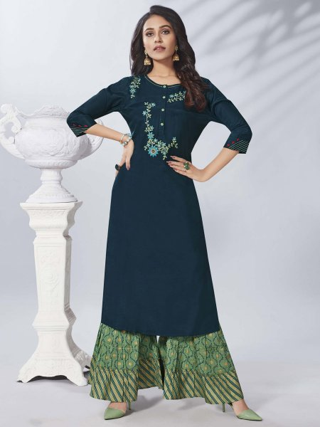 Navy Blue Viscose Embroidered Party Kurti