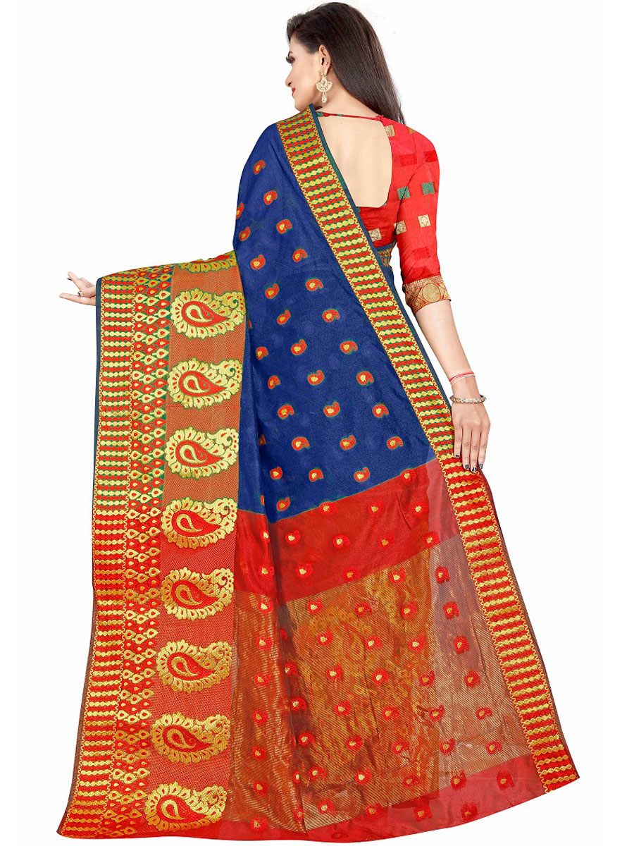 Dark Blue Cotton Jacquard Handwoven Festival Saree