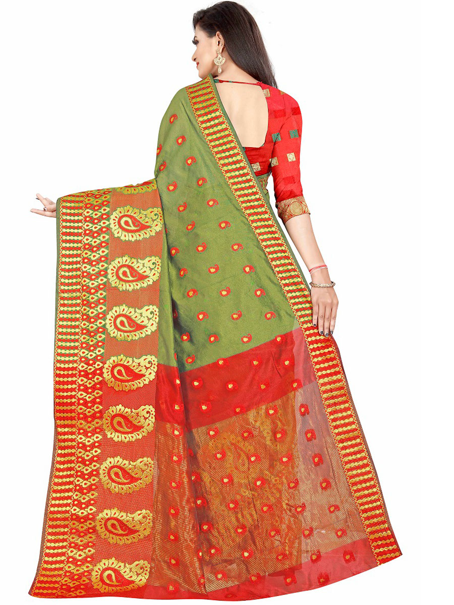 Asparagus Green Cotton Jacquard Handwoven Festival Saree