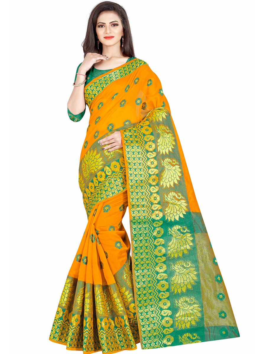 Mustard Yellow Cotton Jacquard Handwoven Festival Saree
