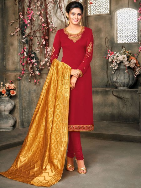 Rose Madder Red Satin Georgette Embroidered Festival Churidar Pant Kameez
