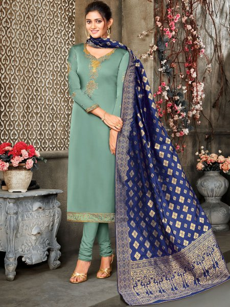 Celadon Green Satin Georgette Embroidered Festival Churidar Pant Kameez