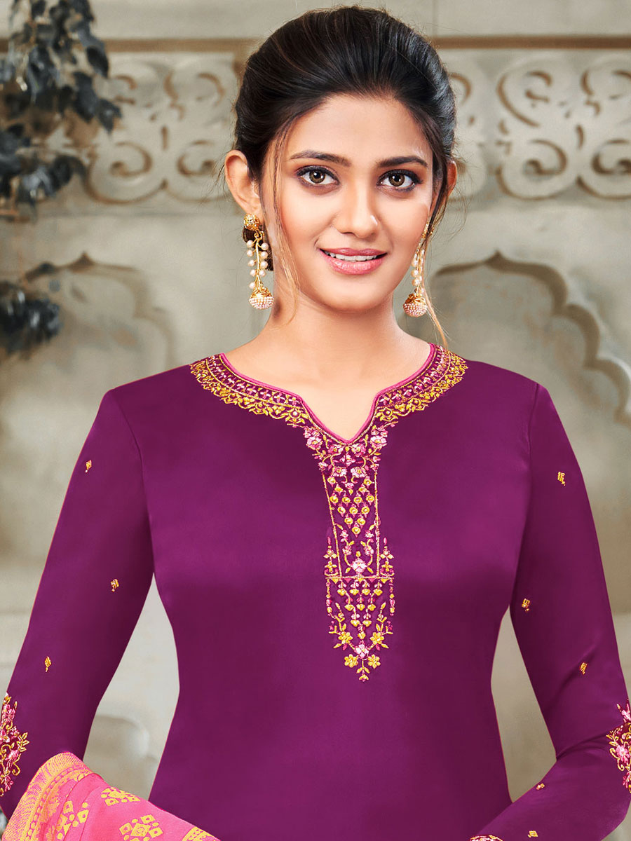 Byzantium Purple Satin Georgette Embroidered Festival Churidar Pant Kameez