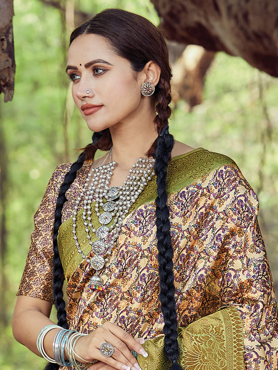 Olive Green and Cream Yellow Silk Printed Party Saree