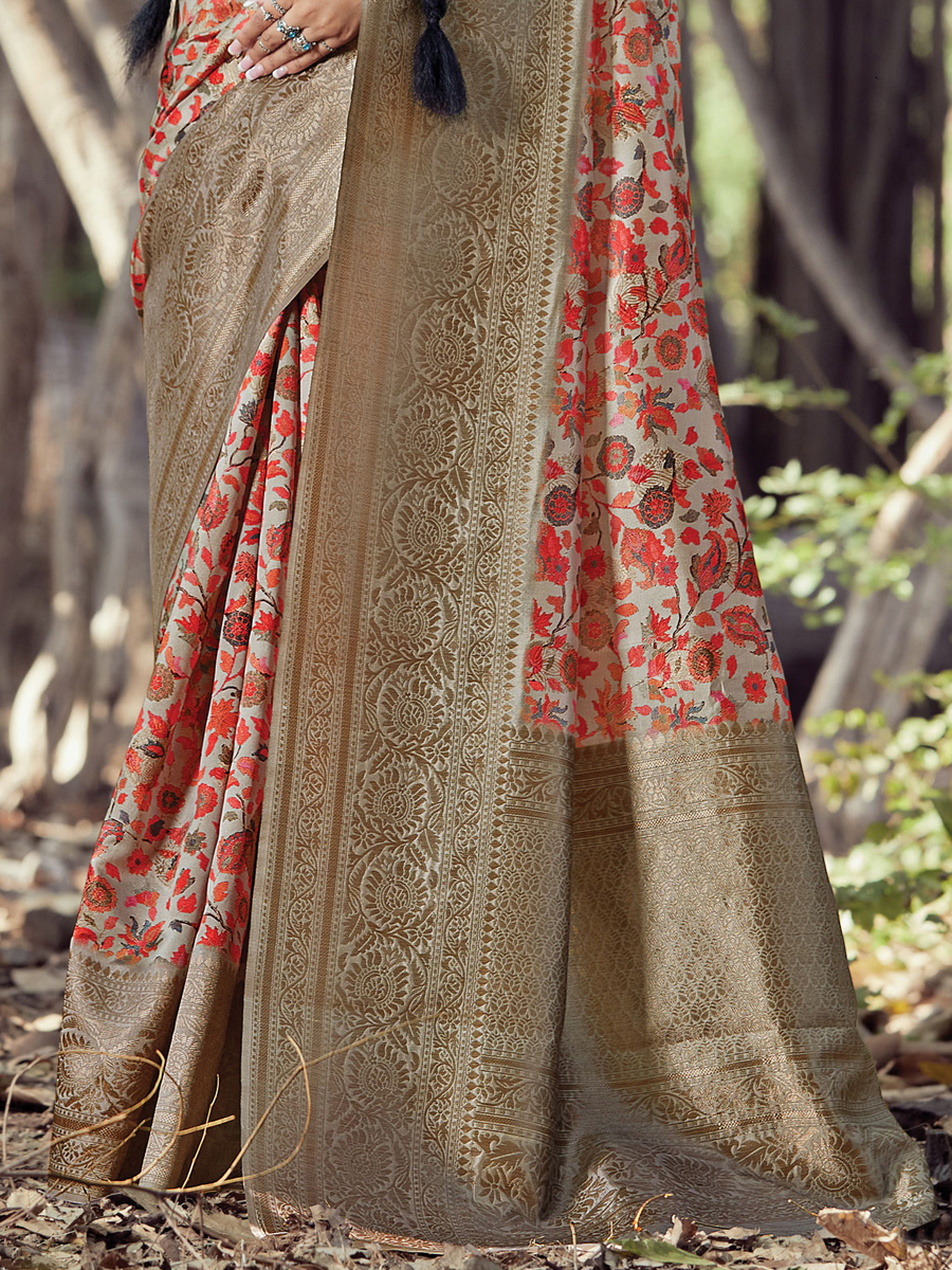Light Gray and Red Silk Printed Party Saree