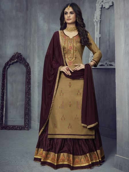 Beige Yellow Silk Embroidered Party Lehenga with Suit