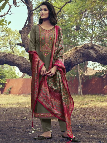 Camouflage Green Silk Embroidered Festival Pant Kameez