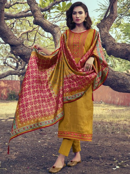 Mustard Yellow Silk Embroidered Festival Pant Kameez