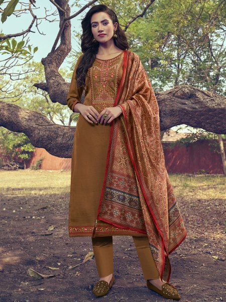 Copper Brown Silk Embroidered Festival Pant Kameez