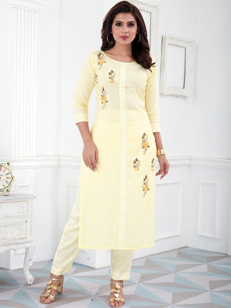 Lemon Chiffon Yellow Cotton Embroidered Party Kurti