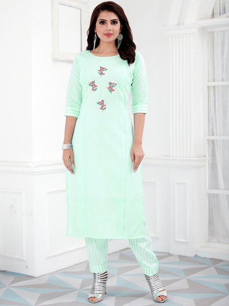 Tea Green Cotton Embroidered Party Kurti