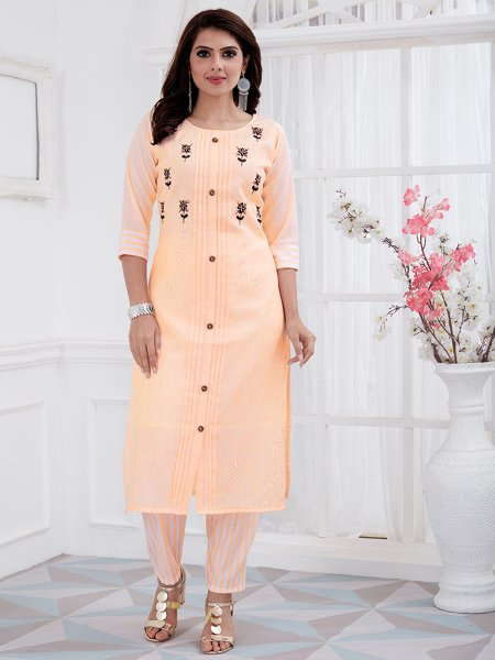 Peach-Orange Cotton Embroidered Party Kurti