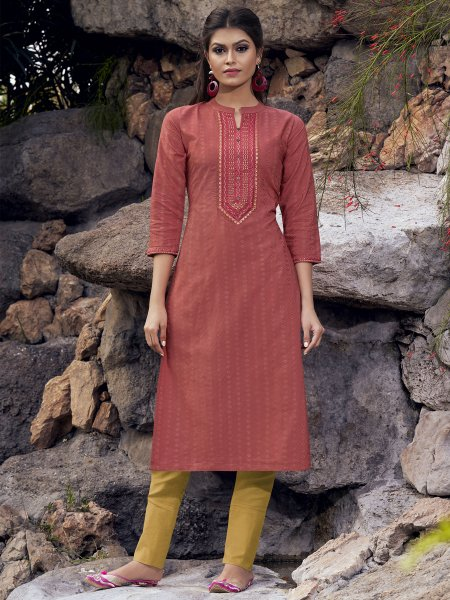 Carmine Pink Silk Embroidered Party Kurti