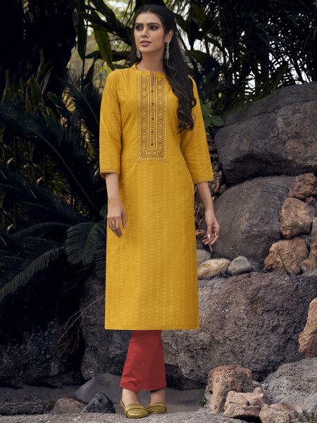 Mustard Yellow Silk Embroidered Party Kurti