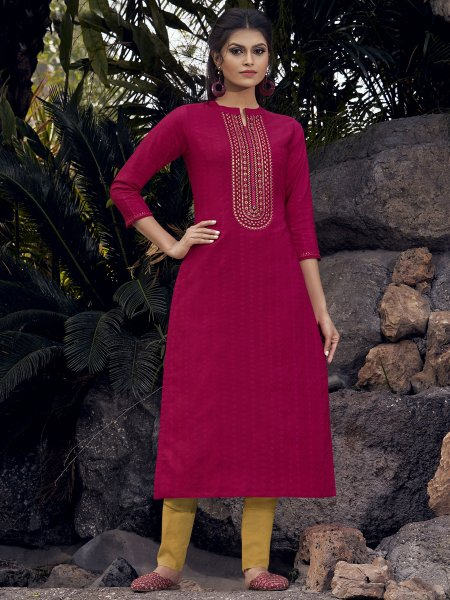 Dark Pink Silk Embroidered Party Kurti