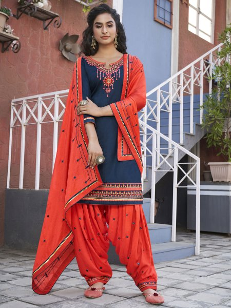 Navy Blue Cotton Embroidered Party Patiala Pant Kameez