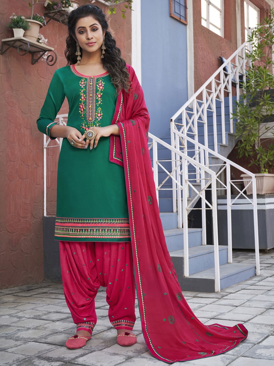 Pine Green Cotton Embroidered Party Patiala Pant Kameez
