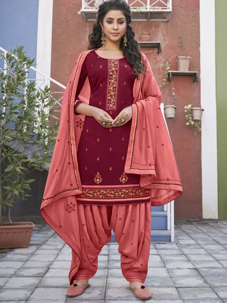 Dark Pink Cotton Embroidered Party Patiala Pant Kameez