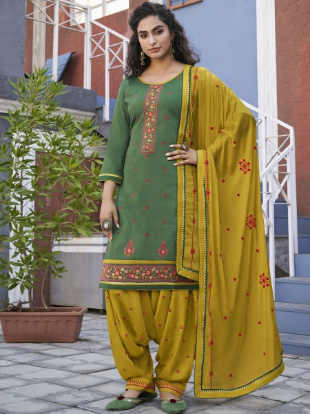 Viridian Green Cotton Embroidered Party Patiala Pant Kameez