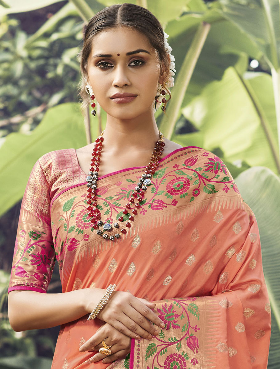 Salmon Orange Silk Handwoven Festival Saree