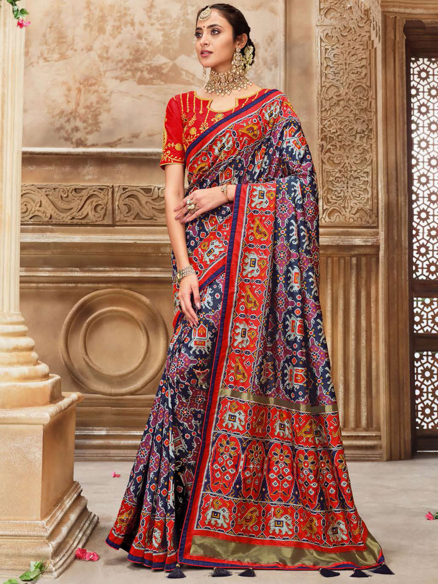 Navy Blue and Rose Madder Red Silk Embroidered Festival Saree