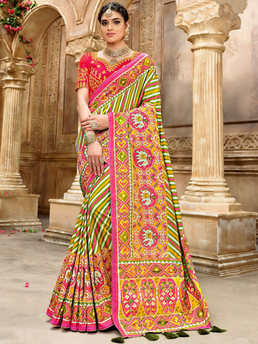 Parrot Green and Cerise Pink Silk Embroidered Festival Saree