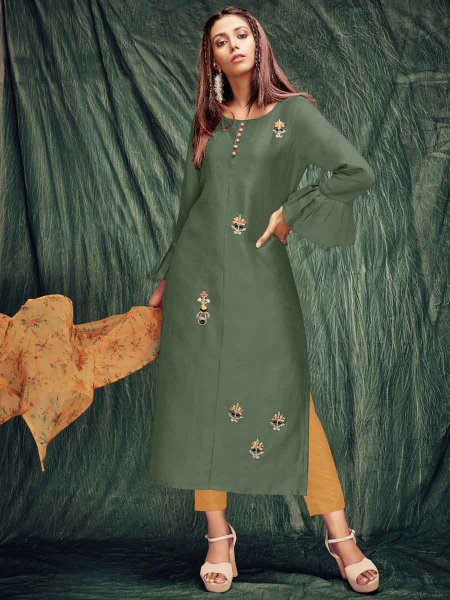 Army Green Silk Embroidered Party Kurti
