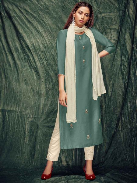 Light Green Silk Embroidered Party Kurti