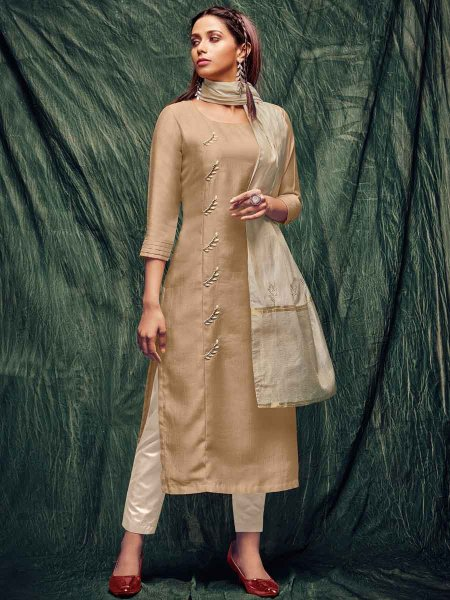 Beige Yellow Silk Embroidered Party Kurti