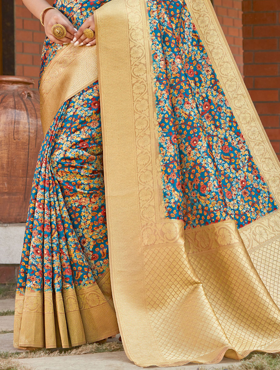 Royal Blue and Sky Blue Silk Printed Festival Saree