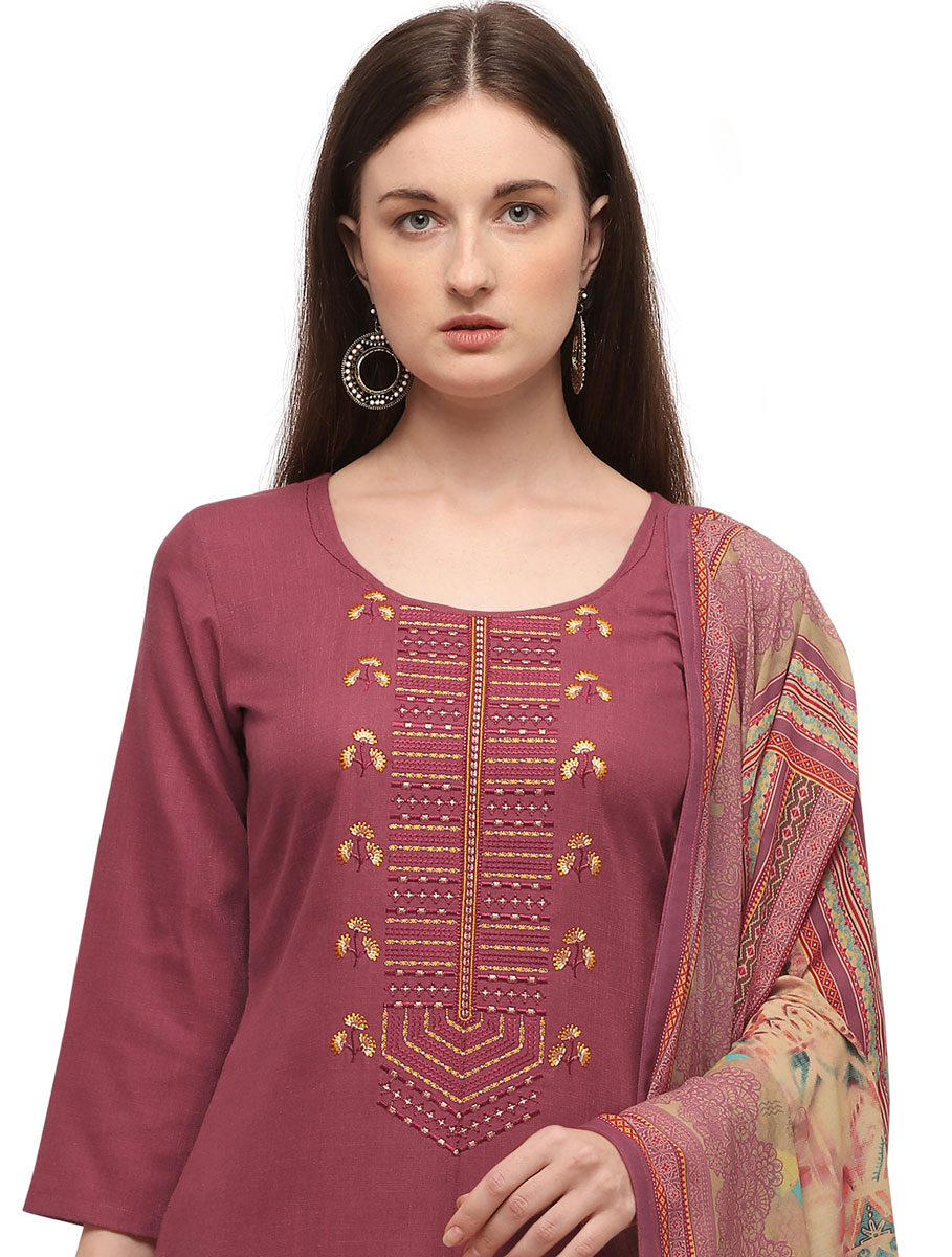 Thulian Pink Cotton Embroidered Festival Pant Kameez