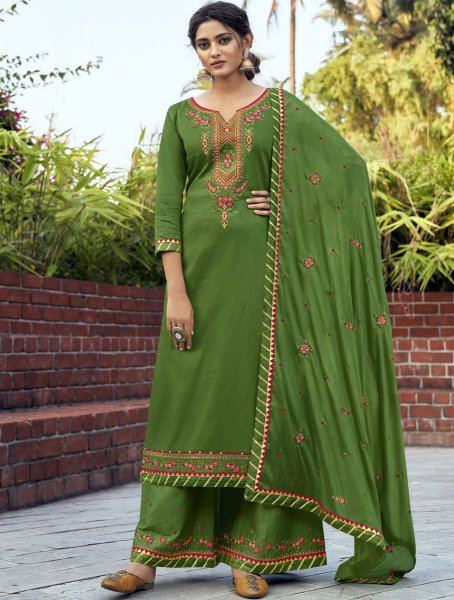 Olive Drab Green Cotton Silk Embroidered Festival Palazzo Pant Kameez