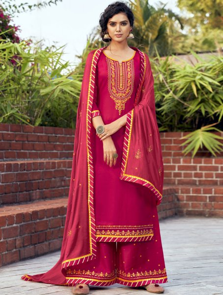 Dark Pink Cotton Silk Embroidered Festival Palazzo Pant Kameez