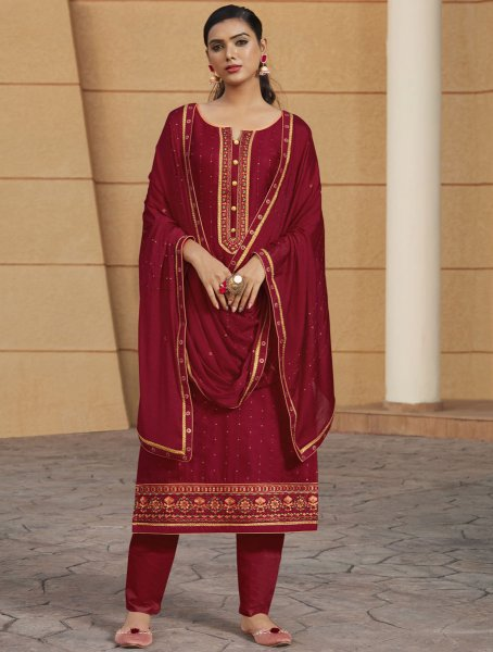 Maroon Satin Embroidered Party Pant Kameez