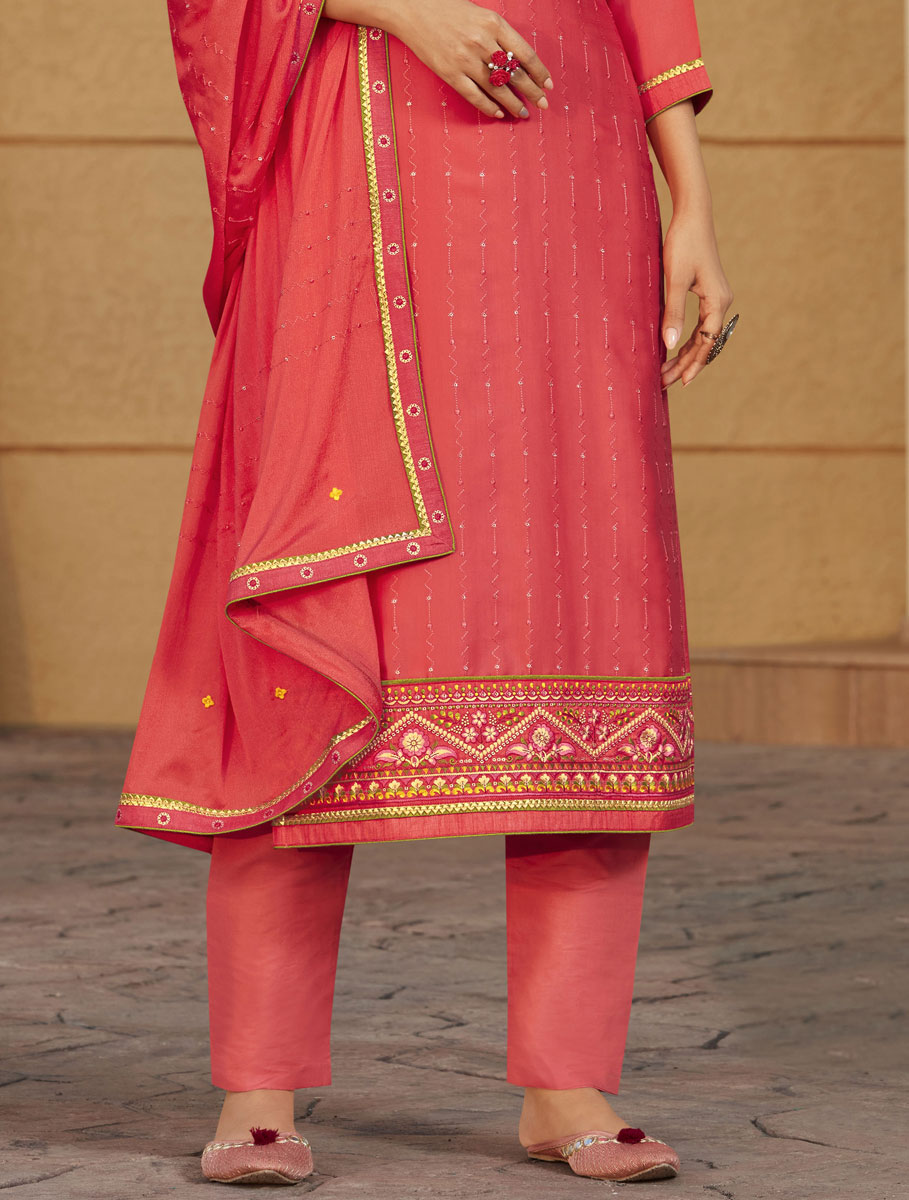 Carmine Pink Satin Embroidered Party Pant Kameez